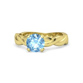 Round Blue Topaz 18K Yellow Gold Ring