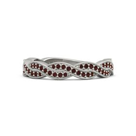 18K White Gold Ring with Red Garnet