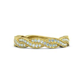 18K Yellow Gold Ring with Aquamarine