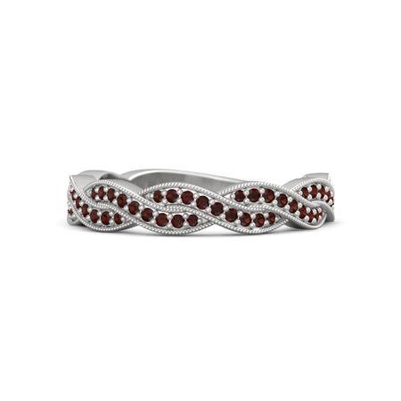 Array - brilliant ariadne band   sterling silver ring with red garnet  rh   gemvara com