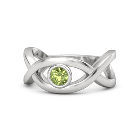Round Peridot Sterling Silver Ring