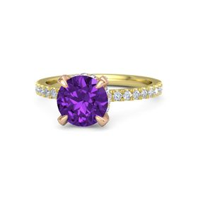 Round Amethyst 14K Yellow Gold Ring with Diamond