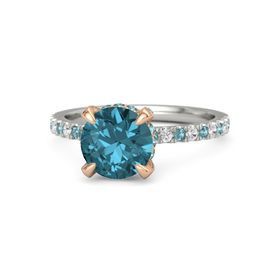 Round London Blue Topaz Palladium Ring with London Blue Topaz and White Sapphire
