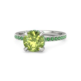 Round Peridot Platinum Ring with Emerald