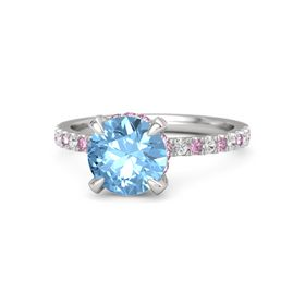 Round Blue Topaz Sterling Silver Ring with Pink Sapphire and White Sapphire