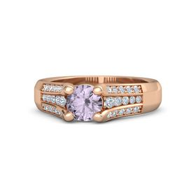 Round Rose de France 14K Rose Gold Ring with Diamond