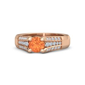 Round Fire Opal 14K Rose Gold Ring with Diamond
