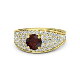 Round Red Garnet 14K Yellow Gold Ring with Diamond