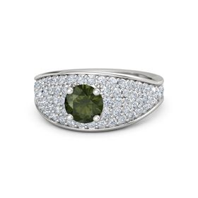 Round Green Tourmaline Sterling Silver Ring with Diamond