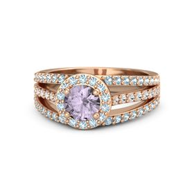 Round Rose de France 14K Rose Gold Ring with Aquamarine and White Sapphire