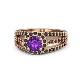 Round Amethyst 14K Rose Gold Ring with Black Diamond