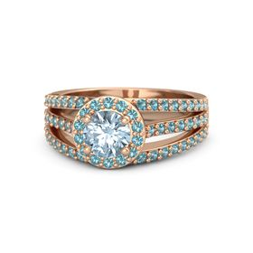 Round Aquamarine 14K Rose Gold Ring with London Blue Topaz