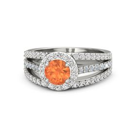 Round Fire Opal 14K White Gold Ring with White Sapphire & Diamond