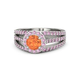 Round Fire Opal 14K White Gold Ring with Pink Sapphire