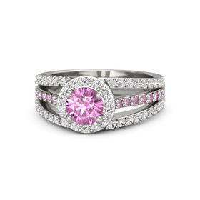 Round Pink Sapphire 14K White Gold Ring with White Sapphire & Pink Sapphire