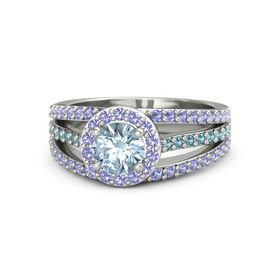 Round Aquamarine 14K White Gold Ring with Iolite and London Blue Topaz
