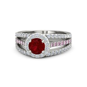 Round Ruby 14K White Gold Ring with Diamond and Pink Sapphire