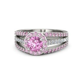 Round Pink Sapphire Platinum Ring with Pink Sapphire and Diamond