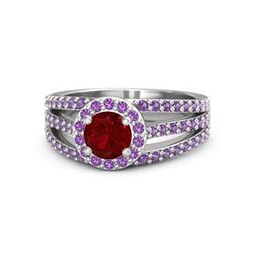 Round Ruby Sterling Silver Ring with Amethyst