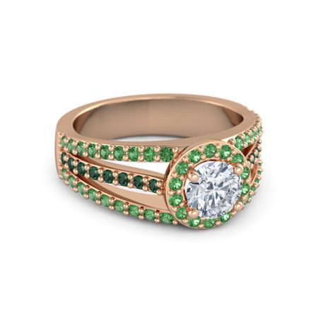 14k gold ring with emerald and