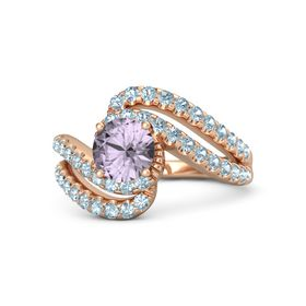 Round Rose de France 14K Rose Gold Ring with Aquamarine