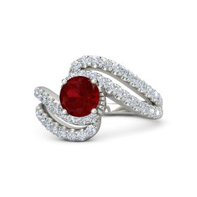 Round Ruby 14K White Gold Ring with Diamond