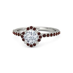 Round Diamond 14K White Gold Ring with Red Garnet