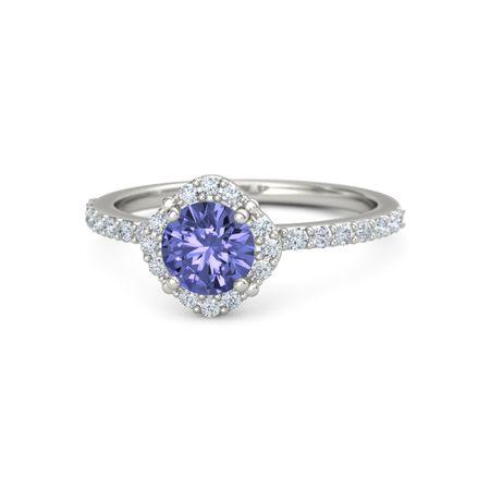 Round Tanzanite 14K White Gold Ring with Diamond | Grace ...