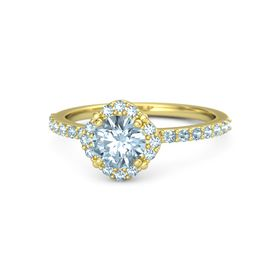 Round Aquamarine 14K Yellow Gold Ring with Aquamarine