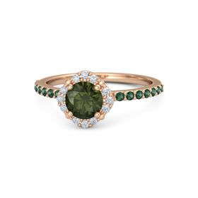 Round Green Tourmaline 18K Rose Gold Ring with Diamond and Alexandrite
