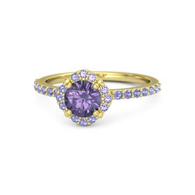 Round Iolite 18K Yellow Gold Ring with Iolite
