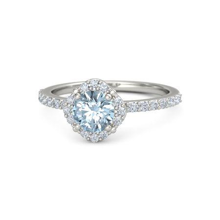 Round Aquamarine Platinum Ring with Diamond | Grace Ring ...