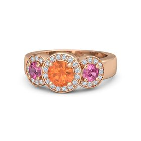 Round Fire Opal 14K Rose Gold Ring with Pink Tourmaline and Diamond
