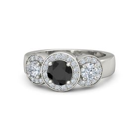 Round Black Diamond 14K White Gold Ring with Diamond