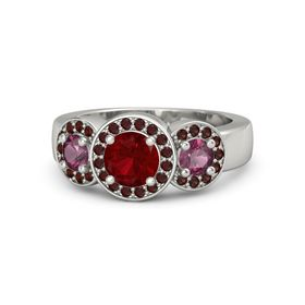 Round Ruby 14K White Gold Ring with Rhodolite Garnet and Red Garnet