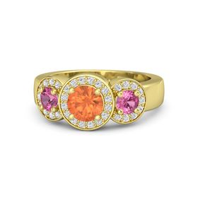 Round Fire Opal 14K Yellow Gold Ring with Pink Tourmaline and White Sapphire