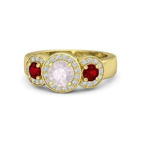 Round Rose Quartz 14K Yellow Gold Ring with Ruby & Diamond