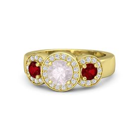Round Rose Quartz 14K Yellow Gold Ring with Ruby and White Sapphire