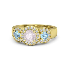 Round Rose Quartz 14K Yellow Gold Ring with Blue Topaz and Diamond