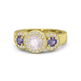 Round Rose Quartz 14K Yellow Gold Ring with Iolite and White Sapphire
