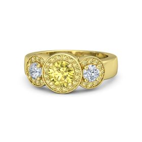Round Yellow Sapphire 14K Yellow Gold Ring with Diamond & Yellow Sapphire