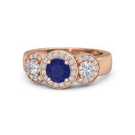 Round Sapphire 18K Rose Gold Ring with Diamond