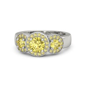 Round Yellow Sapphire 18K White Gold Ring with Yellow Sapphire