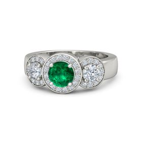Round Emerald Palladium Ring with Diamond