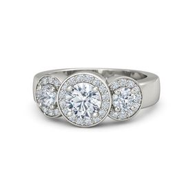 Round Moissanite Palladium Ring with Diamond