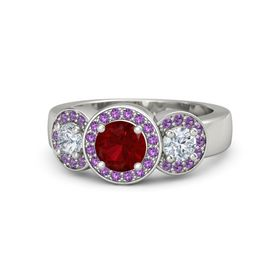 Round Ruby Platinum Ring with Diamond and Amethyst