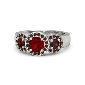 Round Ruby Platinum Ring with Red Garnet