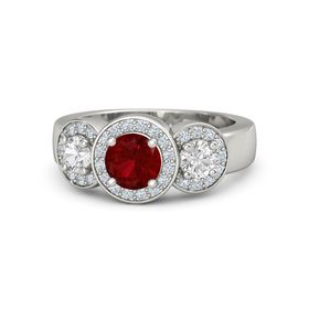 Round Ruby Platinum Ring with White Sapphire & Diamond