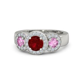 Round Ruby Platinum Ring with Pink Sapphire and Diamond