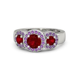 Round Ruby Platinum Ring with Ruby and Amethyst